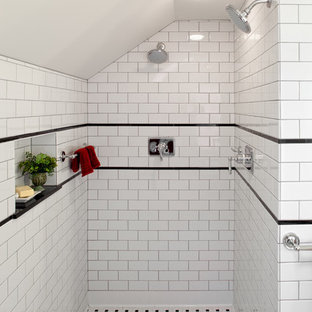 Elegant White Tile And Subway Double Shower Photo In Portland
