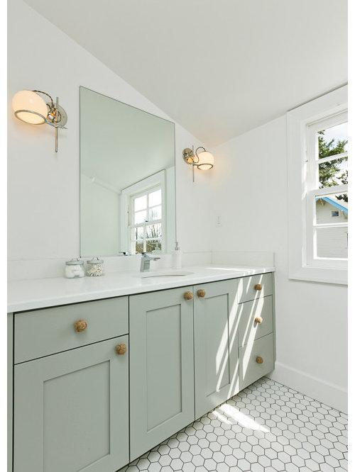 Portland Bathroom Design Ideas Renovations Photos With Green Cabinets