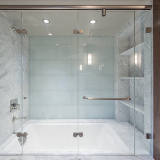Bathroom - transitional green tile and glass tile marble floor bathroom idea in San Francisco with an undermount sink, shaker cabinets, medium tone wood cabinets, marble countertops, a one-piece toilet and gray walls