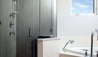 Island Stone Smoke Linear Glass Tile Shower with Pebble Tile Floor