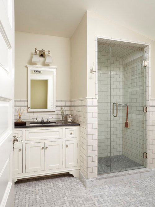 Inspiration For A Timeless Subway Tile Bathroom Remodel In Minneapolis With  Granite Countertops