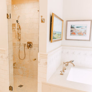 Double shower - large eclectic master beige tile and terra-cotta tile terra-cotta floor and beige floor double shower idea in Seattle with shaker cabinets, white cabinets, an undermount tub, a two-piece toilet, beige walls, an undermount sink, quartz countertops, a hinged shower door and beige countertops