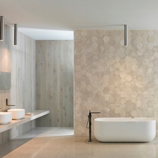 Inspiration for a large shower room in Adelaide with light wood cabinets, a freestanding bath, beige tiles, porcelain tiles, beige walls, porcelain flooring, a console sink, engineered stone worktops and an open shower.
