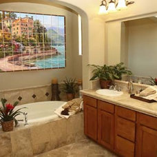 Mediterranean Bathroom by Pacifica Tile Art Studio