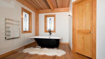 Ivory Sheepskin Rug in a Bathroom