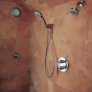 Example of a mid-sized trendy master double shower design in Other with furniture-like cabinets and medium tone wood cabinets