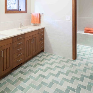 Inspiration for a rustic subway tile green floor bathroom remodel in Portland
