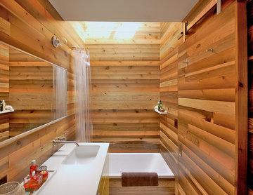 Japanese Bath House Inspired Bathroom
