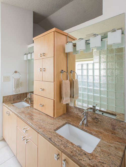 Asian Bathroom Design Ideas Renovations Photos With Light Wood Cabinets