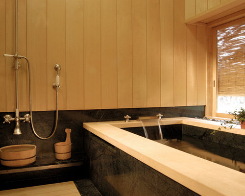 Japanese style bathroom houzz for Asian style bathroom designs