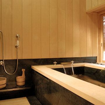 Japanese-style Bathing Room with Granite Soaking Tub