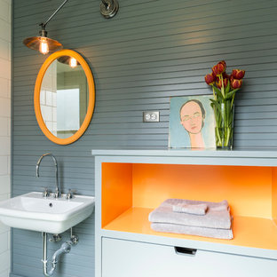 Example of a trendy bathroom design in Seattle with a wall-mount sink