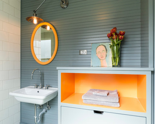 Example Of A Trendy Bathroom Design In Seattle With A Wall Mount Sink