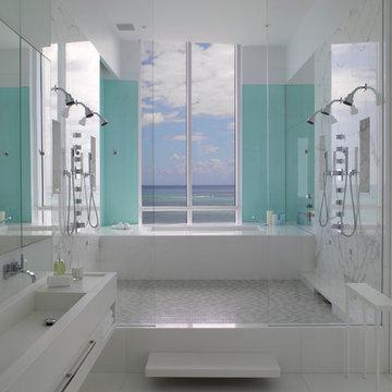 Jennifer Post designed apartment  at The Bath Club, Miami Beach