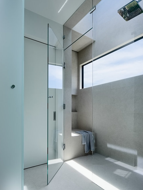 inspiration for a large modern master bathroom in san francisco with an alcove shower white - Narrow Bathroom
