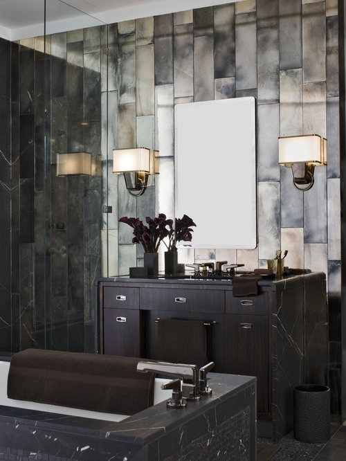 Antique Mirror Tile Houzz - mirror tiles with wall designs