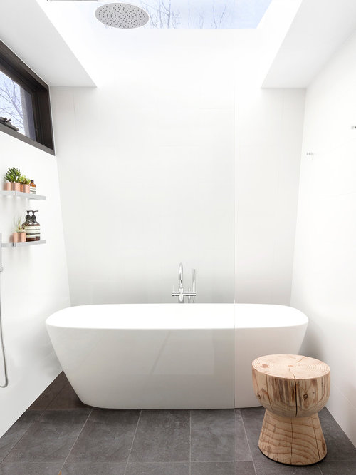 Photo Of A Mid Sized Modern Master Bathroom In Melbourne With A  Freestanding Tub,