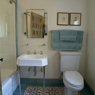 Small mid-century modern 3/4 multicolored tile and cement tile mosaic tile floor bathroom photo in Phoenix with a pedestal sink and white walls
