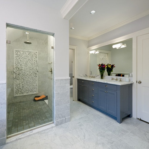 Elegant Gray Tile Gray Floor Alcove Shower Photo In Minneapolis With An  Undermount Sink, Recessed