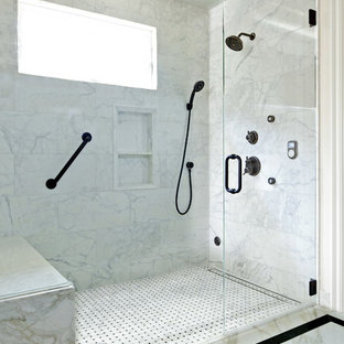 Small traditional 3/4 bathroom in Los Angeles with an undermount sink, a curbless shower, gray tile, mosaic tile, white walls and marble floors.