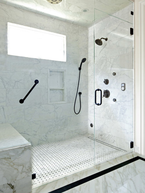 Small Elegant 3/4 Gray Tile And Mosaic Tile Marble Floor Walk In Shower