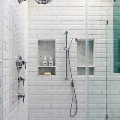 Mid-sized elegant master white tile and ceramic tile marble floor and gray floor bathroom photo in DC Metro with raised-panel cabinets, white cabinets, a one-piece toilet, green walls, an undermount sink, marble countertops, a hinged shower door and gray countertops