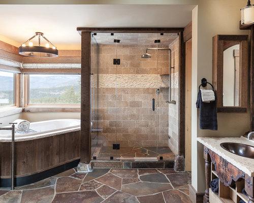 rustikale badezimmer mit steinfliesen ideen & beispiele für die