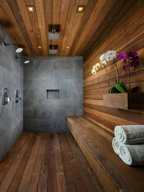 Large Trendy Master Dark Wood Floor And Brown Floor Bathroom Photo In Miami  With Beige Walls