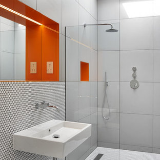 Photo of a modern bathroom in Berkshire with a built-in shower, grey tiles, mosaic tile flooring, a wall-mounted sink, white floors and an open shower.