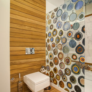 Inspiration for a contemporary wood-look tile alcove shower remodel in Other with a wall-mount toilet