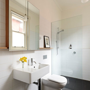 Inspiration For A Modern Walk In Shower Remodel In Melbourne With A  Wall Mount