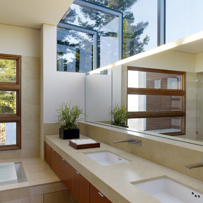 Inspiration for a modern alcove bathtub remodel in San Francisco with an undermount sink