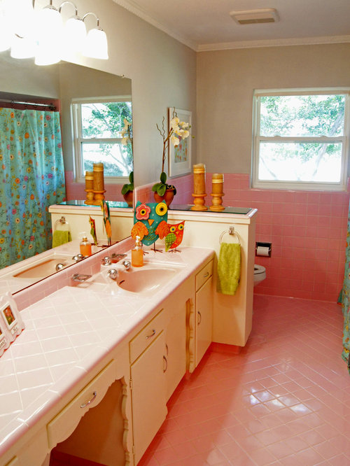 Transitional Pink Tile Pink Floor Bathroom Idea In Dallas