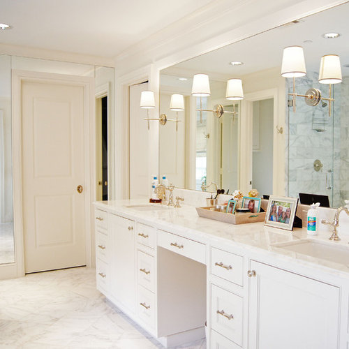 Example Of A Classic Marble Tile Marble Floor Bathroom Design In Dallas  With Marble Countertops