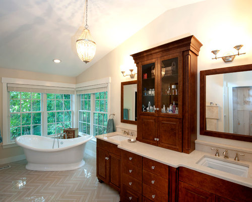 bathroom design ideas remodels photos with glass front cabinets