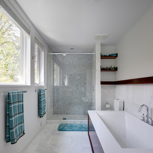Example of a trendy mosaic tile bathroom design in Dallas