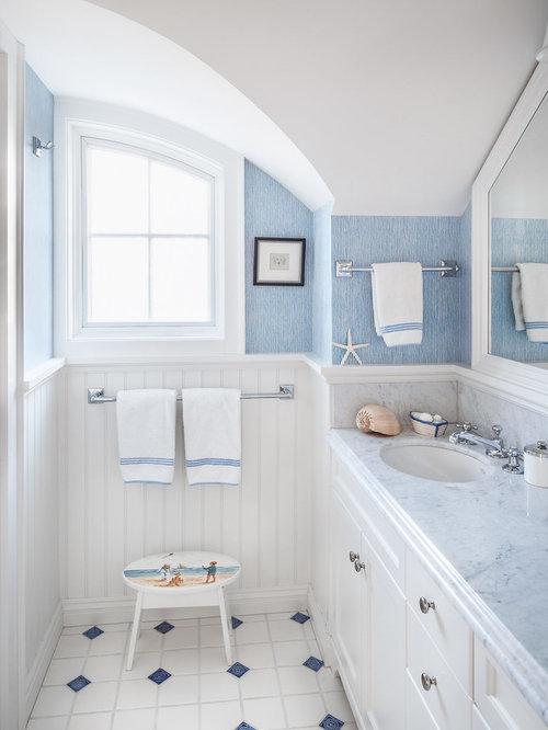 Portland Maine Bathroom With White Cabinets