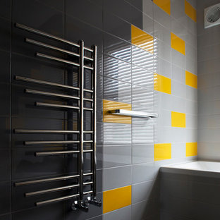 Bathroom - mid-sized eclectic kids' gray tile and ceramic tile linoleum floor bathroom idea in London with furniture-like cabinets and white cabinets