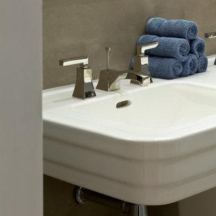 Esempio di una grande stanza da bagno padronale design con vasca da incasso, bidè, piastrelle multicolore, pareti grigie, pavimento con piastrelle in ceramica, top piastrellato, lavabo a colonna, ante lisce e doccia alcova