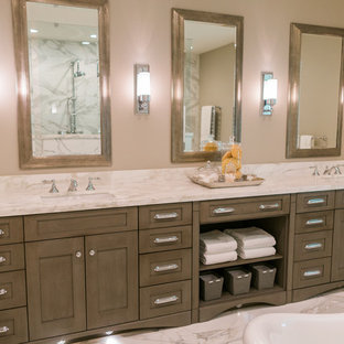 Large transitional master white tile and stone tile marble floor bathroom photo in San Francisco with shaker cabinets, gray cabinets, gray walls, an undermount sink, marble countertops and a two-piece toilet