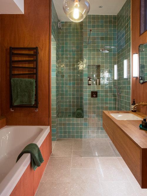 example of a trendy master blue tile and green tile beige floor bathroom design in london - Matchstick Tile Garden Decoration