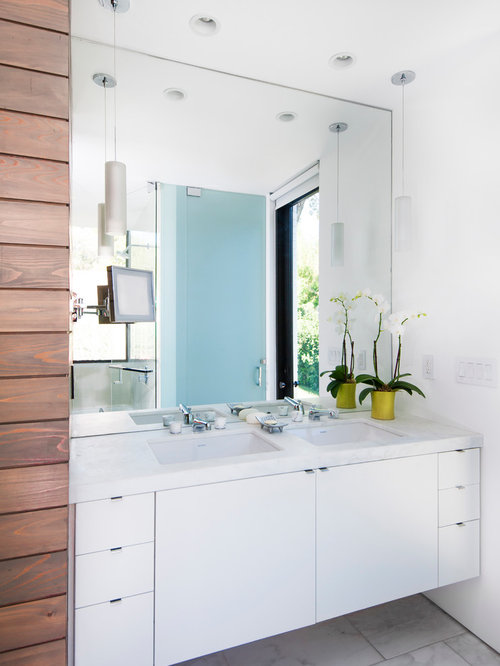 Bathroom   Contemporary Bathroom Idea In Austin With An Undermount Sink,  Flat Panel Cabinets