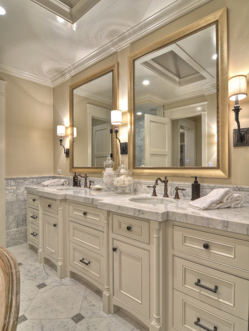 Transitional Bathroom Idea In Orange County With Marble Countertops