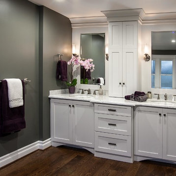 Master Bath Flanked By His And Her Walk In Closets Has A Tile Shower