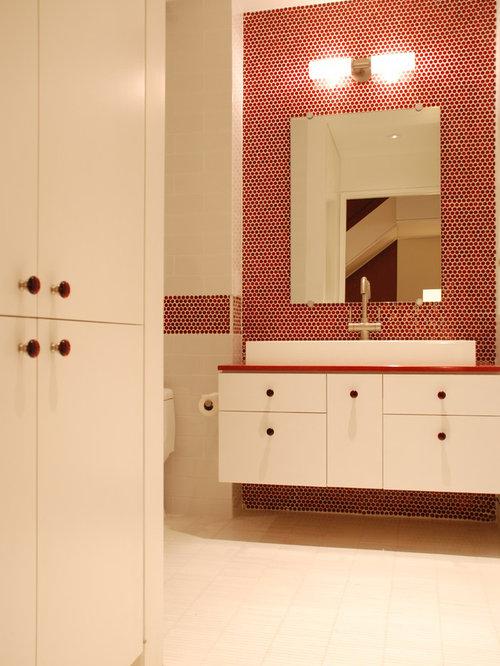 Modern bathroom design ideas renovations photos with for Red tile bathroom ideas