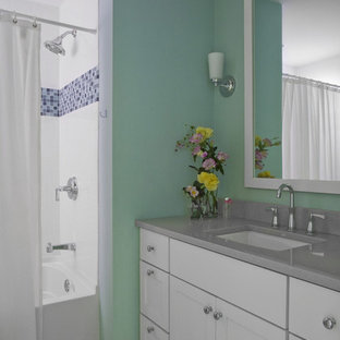 Trendy mosaic tile bathroom photo in Chicago with gray countertops