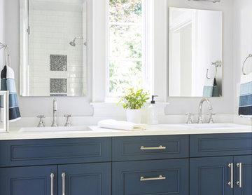Kids bath with blue vanity