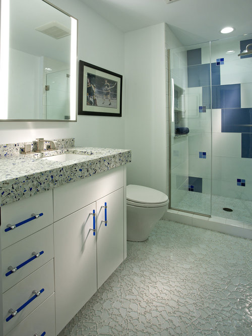 Contemporary Multicolored Tile Alcove Shower Idea In Minneapolis With An  Undermount Sink, Flat Panel Part 80
