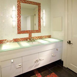 Photo of a contemporary bathroom in Minneapolis with mosaic tile, red tile and turquoise benchtops.