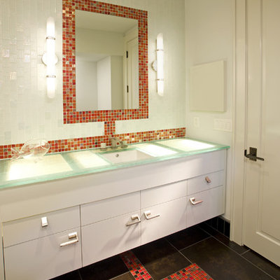 Trendy mosaic tile and red tile bathroom photo in Minneapolis with turquoise countertops